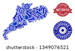best service collage of blue... | Shutterstock .eps vector #1349076521
