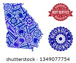 best service collage of blue... | Shutterstock .eps vector #1349077754