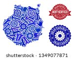 best service collage of blue... | Shutterstock .eps vector #1349077871