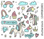 unicorn and magic doodles. cute ... | Shutterstock .eps vector #1349081801
