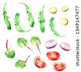 hand drawn watercolor food... | Shutterstock . vector #1349147477