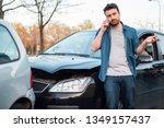 man calling roadside emergency... | Shutterstock . vector #1349157437