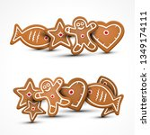 xmas vector gingerbread cookies.... | Shutterstock .eps vector #1349174111