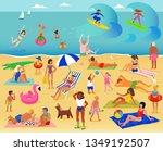 summer vacation. lots of people ... | Shutterstock . vector #1349192507