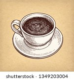 cup of hot chocolate or coffee. ... | Shutterstock .eps vector #1349203004