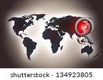 north korean map conflict alert ... | Shutterstock . vector #134923805