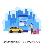 happy smiling woman tourist... | Shutterstock .eps vector #1349249771