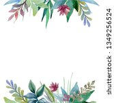 floral watercolor frame...   Shutterstock . vector #1349256524