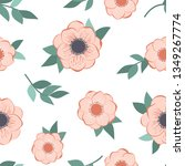 floral pattern with nemone... | Shutterstock .eps vector #1349267774