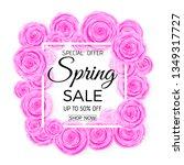 spring sale banner. spring sale ... | Shutterstock .eps vector #1349317727