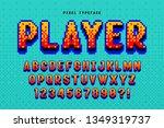 pixel vector font design ... | Shutterstock .eps vector #1349319737