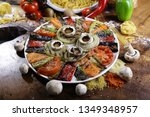 roast mushrooms and peppers | Shutterstock . vector #1349348957
