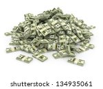 dollars. pile from packs of... | Shutterstock . vector #134935061