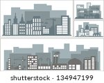gray silhouette of the city ... | Shutterstock .eps vector #134947199