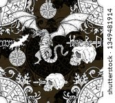 seamless pattern with dragon... | Shutterstock . vector #1349481914