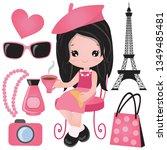 french girl vector cartoon... | Shutterstock .eps vector #1349485481