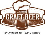 vintage style craft beer sign | Shutterstock .eps vector #134948891