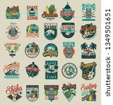 vintage surfing emblems with... | Shutterstock .eps vector #1349501651