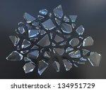 3d Black Abstract Broken Glass...