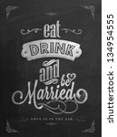 Wedding Invitation Vintage Typographic Background On Blackboard With Chalk