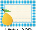 yellow pear on chequered...