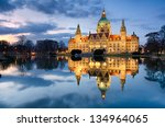 Stock photo city hall of hannover germany by night 134964065