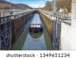 barge in a lock of the main... | Shutterstock . vector #1349651234