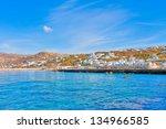greece  old port by mykonos... | Shutterstock . vector #134966585