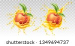 realistic peach fruits with... | Shutterstock .eps vector #1349694737