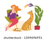 vector hygge illustration with... | Shutterstock .eps vector #1349696951