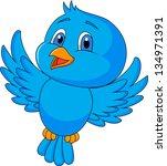 cute blue bird flying