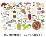 set of hand drawn italian food... | Shutterstock .eps vector #1349738867