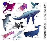 vector illustration of sea... | Shutterstock .eps vector #1349758124