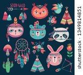 cute woodland boho tribal... | Shutterstock .eps vector #1349814851