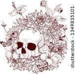 drawing human skull with...   Shutterstock .eps vector #1349835101