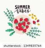 ripe fresh strawberries lying...   Shutterstock . vector #1349835764