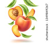 realistic whole peach  half and ... | Shutterstock .eps vector #1349849267