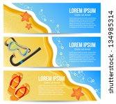 three summer banners. vector... | Shutterstock .eps vector #134985314