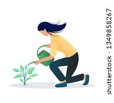 girl watering plants with... | Shutterstock .eps vector #1349858267