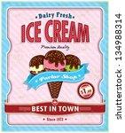 vintage ice cream poster design | Shutterstock .eps vector #134988314