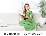 business woman with tablet... | Shutterstock . vector #1349897237