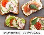 variety of mini sandwiches with ... | Shutterstock . vector #1349906231