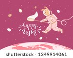 easter bunny in a spacesuit... | Shutterstock .eps vector #1349914061