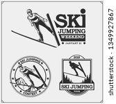 vector set of ski jumping... | Shutterstock .eps vector #1349927867