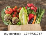 vegetables in the sack bag on... | Shutterstock . vector #1349931767