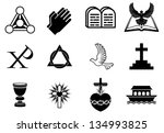 A set of Christianity icons and symbols, including dove, Chi Ro, praying hands, bible, trinity christogram, cross, communion goblet, ark and more - stock vector