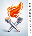 two microphones crossed on fire ... | Shutterstock .eps vector #1349941727