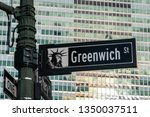New York City - USA - Mar 11 2019: Close-up view of Signs of Greenwich Street and Maiden Lane in Financial District Lower Manhattan New York City