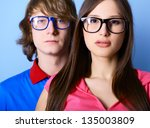 fashionable young couple... | Shutterstock . vector #135003809