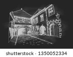 vector sketch of old fortress... | Shutterstock .eps vector #1350052334